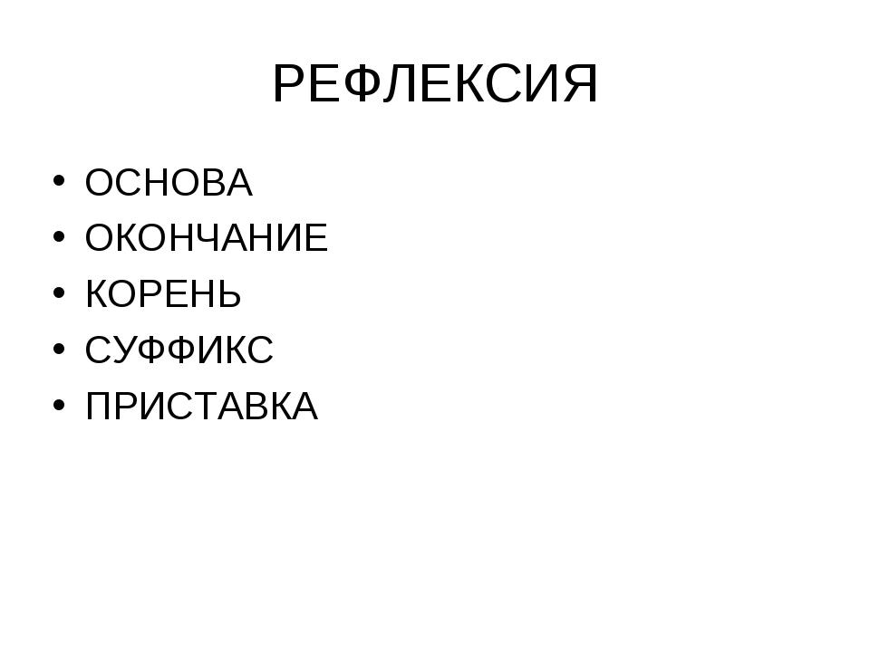 РЕФЛЕКСИЯ ОСНОВА ОКОНЧАНИЕ КОРЕНЬ СУФФИКС ПРИСТАВКА