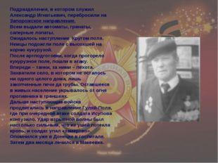 Подразделение, в котором служил Александр Игнатьевич, перебросили на Запорожс