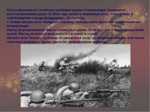 После выписки из госпиталя разбирал руины Сталинграда. Занимался восстановлен