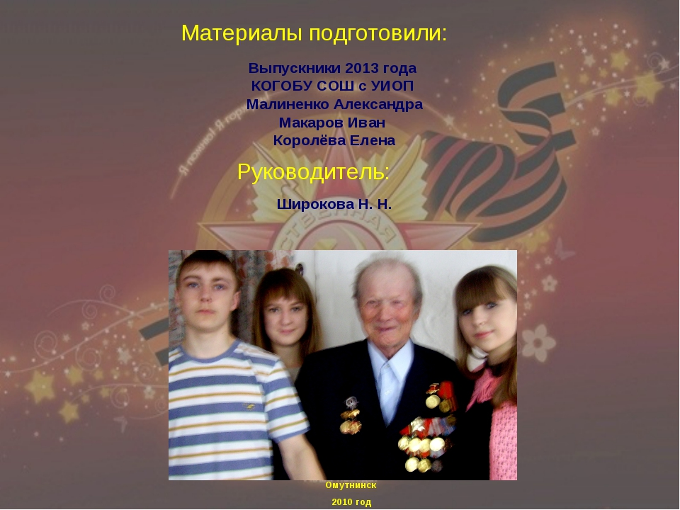 Выпускники 2013 года КОГОБУ СОШ с УИОП Малиненко Александра Макаров Иван Коро...
