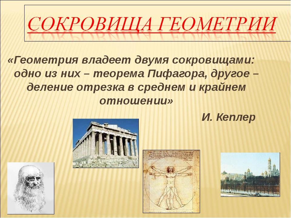 «Геометрия владеет двумя сокровищами: одно из них – теорема Пифагора, другое...