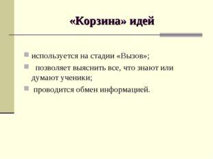 «Корзина» идей используется на стадии «Вызов»; позволяет выяснить все, что зн