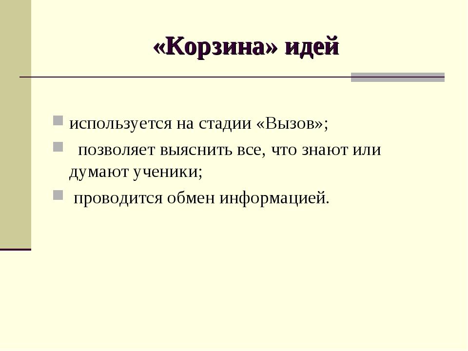 «Корзина» идей используется на стадии «Вызов»; позволяет выяснить все, что зн...