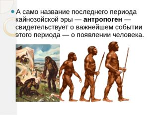 А само название последнего периода кайнозойской эры — антропоген — свидетельс