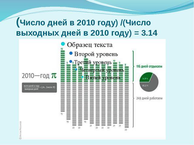 (Число дней в 2010 году) /(Число выходных дней в 2010 году) = 3.14