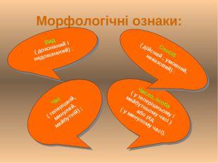 Морфологічні ознаки: Вид ( доконаний і недоконаний) ; Число, особа ( у тепері
