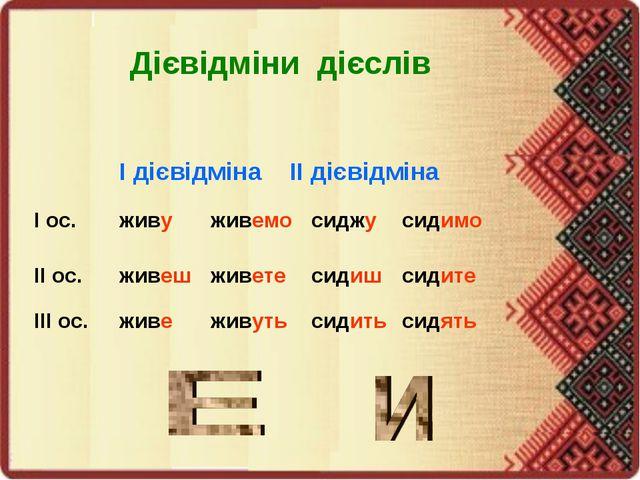 Дієвідміни дієслів І дієвідмінаІІ дієвідміна І ос.живуживемосиджусидим...