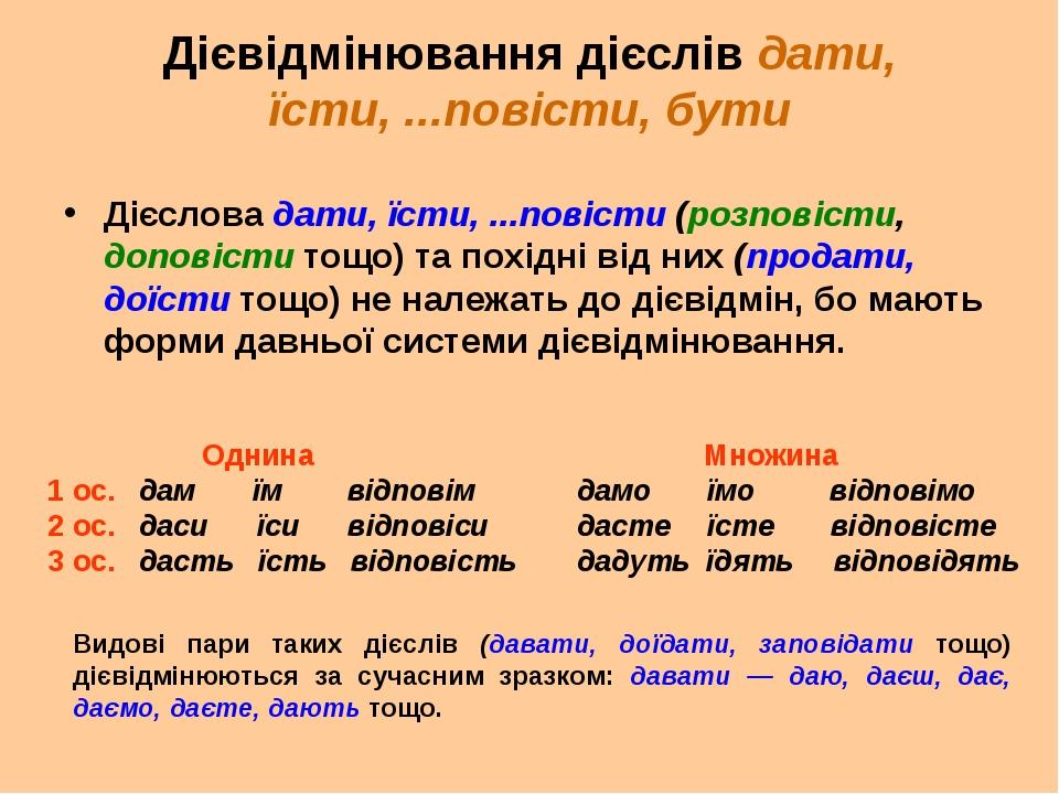 Дієвідмінювання дієслів дати, їсти, ...повісти, бути Дієслова дати, їсти, ......