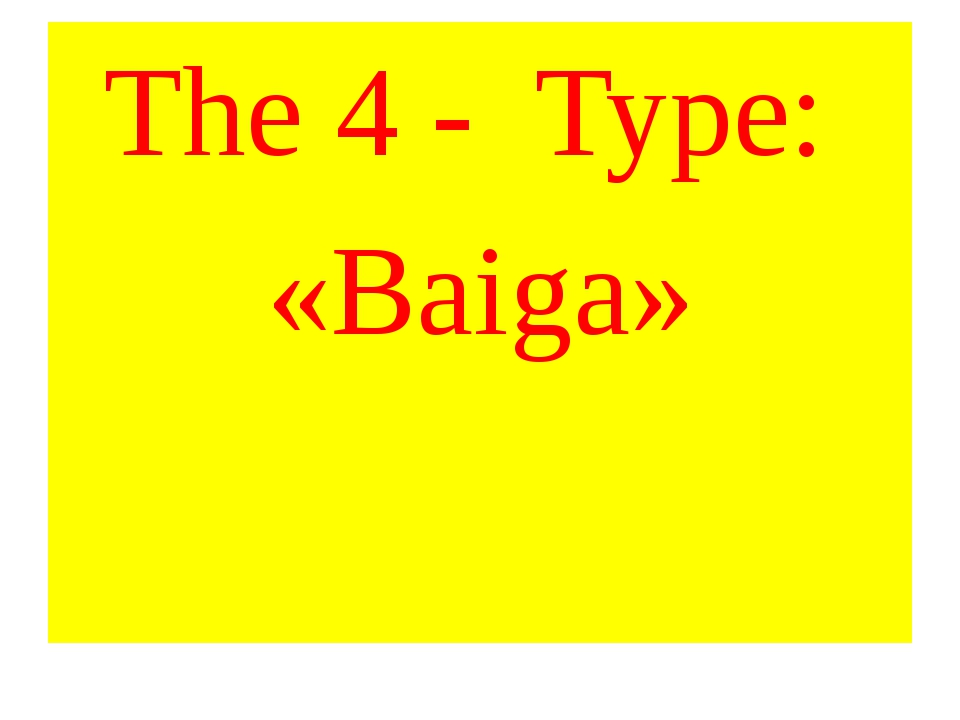 The 4 - Type: «Baiga»