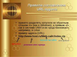 Правила составления URL-адреса принято разделять каталоги не обратным слэшем