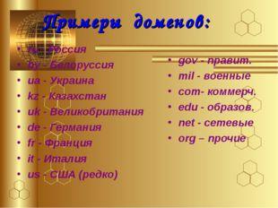 Примеры доменов: ru - Россия by - Белоруссия ua - Украина kz - Казахстан uk -