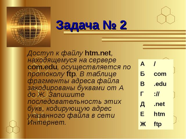 Задача № 2 Доступ к файлу htm.net, находящемуся на сервере com.edu, осуществл...