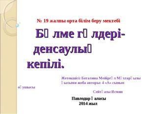 Бөлме гүлдері- денсаулық кепілі. Павлодар қаласы 2014 жыл № 19 жалпы орта бі