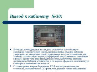 Вывод к кабинету №30: Площадь, приходящаяся на каждого учащегося, соответству