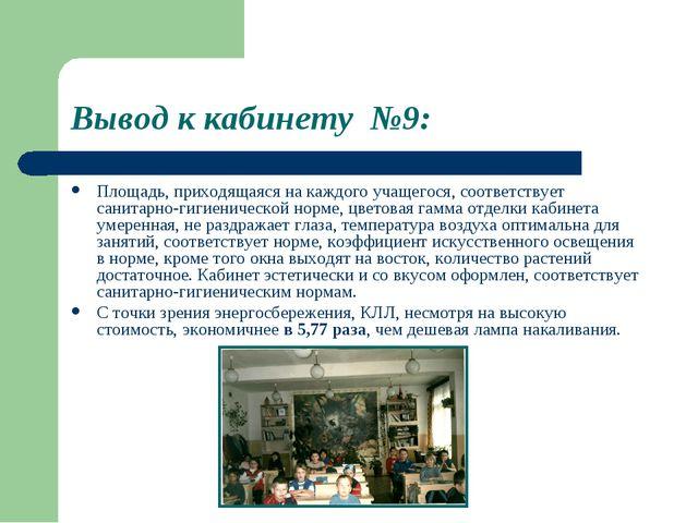 Вывод к кабинету №9: Площадь, приходящаяся на каждого учащегося, соответствуе...