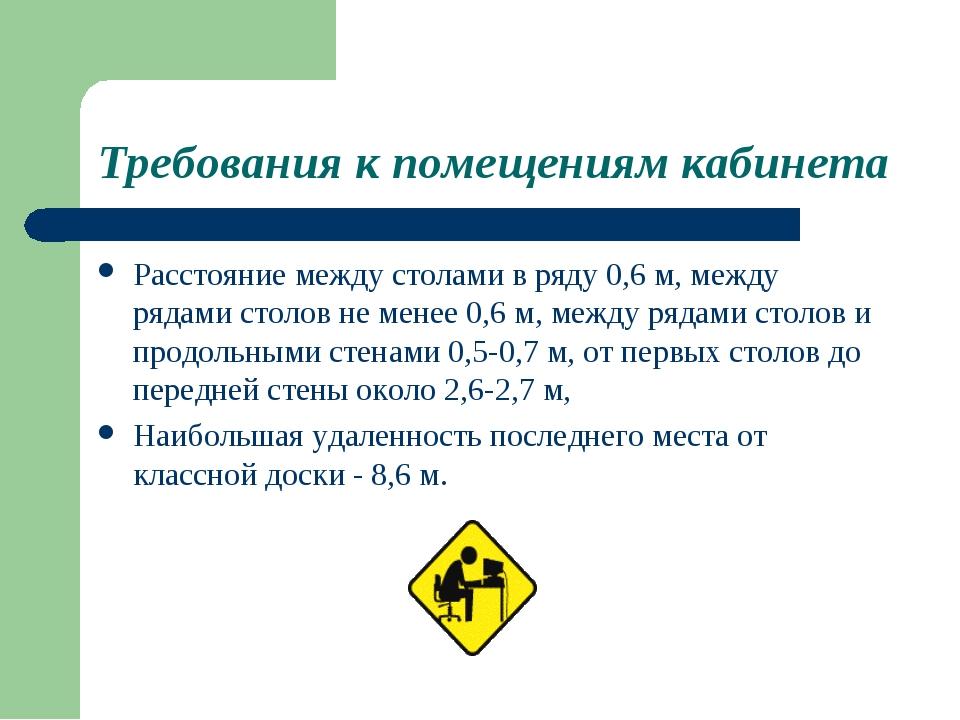 Требования к помещениям кабинета Расстояние между столами в ряду 0,6 м, между...