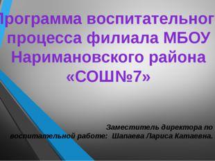 Программа воспитательного процесса филиала МБОУ Наримановского района «СОШ№7»