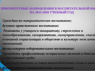 ПРИОРИТЕТНЫЕ НАПРАВЛЕНИЯ В ВОСПИТАТЕЛЬНОЙ РАБОТЕ НА 2015-2016 УЧЕБНЫЙ ГОД Гра