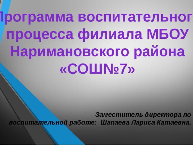 Программа воспитательного процесса филиала МБОУ Наримановского района «СОШ№7»...