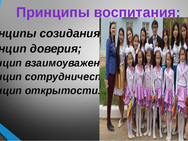 Принципы воспитания: Принципы созидания; Принцип доверия; Принцип взаимоуваже...