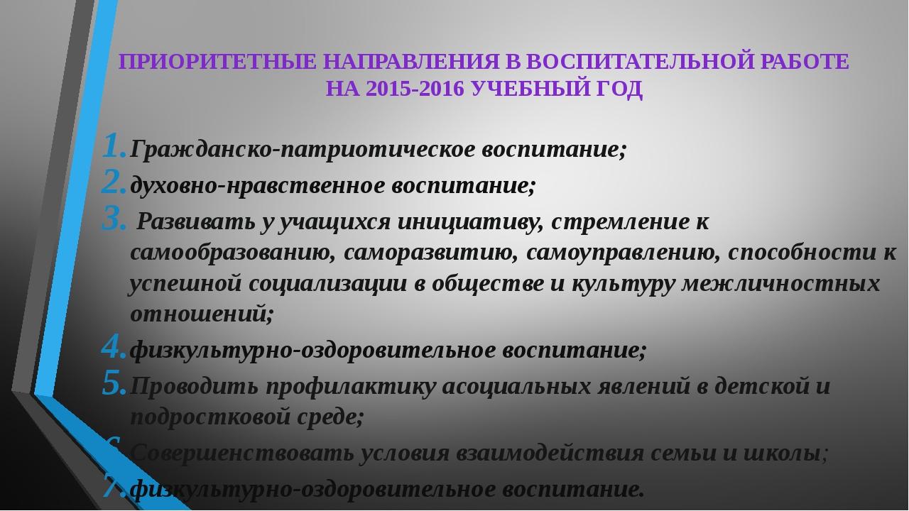 ПРИОРИТЕТНЫЕ НАПРАВЛЕНИЯ В ВОСПИТАТЕЛЬНОЙ РАБОТЕ НА 2015-2016 УЧЕБНЫЙ ГОД Гра...