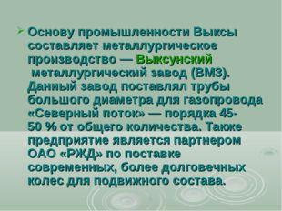 Основу промышленности Выксы составляет металлургическое производство—Выксун