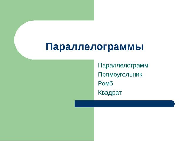 Параллелограммы Параллелограмм Прямоугольник Ромб Квадрат
