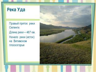 Река Уда Правый приток реки Селенги. Длина реки – 467 км. Начало реки (исток)