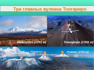 Три главных вулкана Тонгариро Нгаурухоэ (2291 м) Тонгариро (1968 м) Нгаурухо