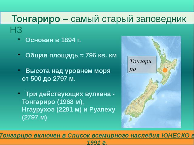 Тонгариро – самый старый заповедник НЗ Основан в 1894 г. Общая площадь ≈ 796...
