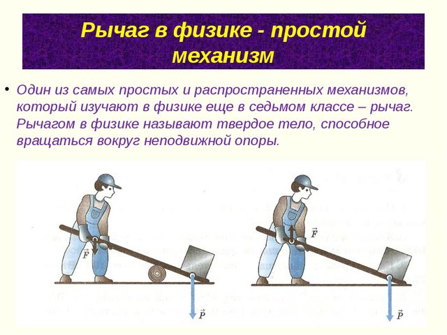 Рычаг в физике - простой механизм Один из самых простых и распространенных ме...
