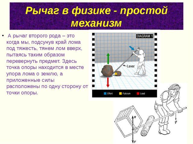 Рычаг в физике - простой механизм А рычаг второго рода – это когда мы, подсу...