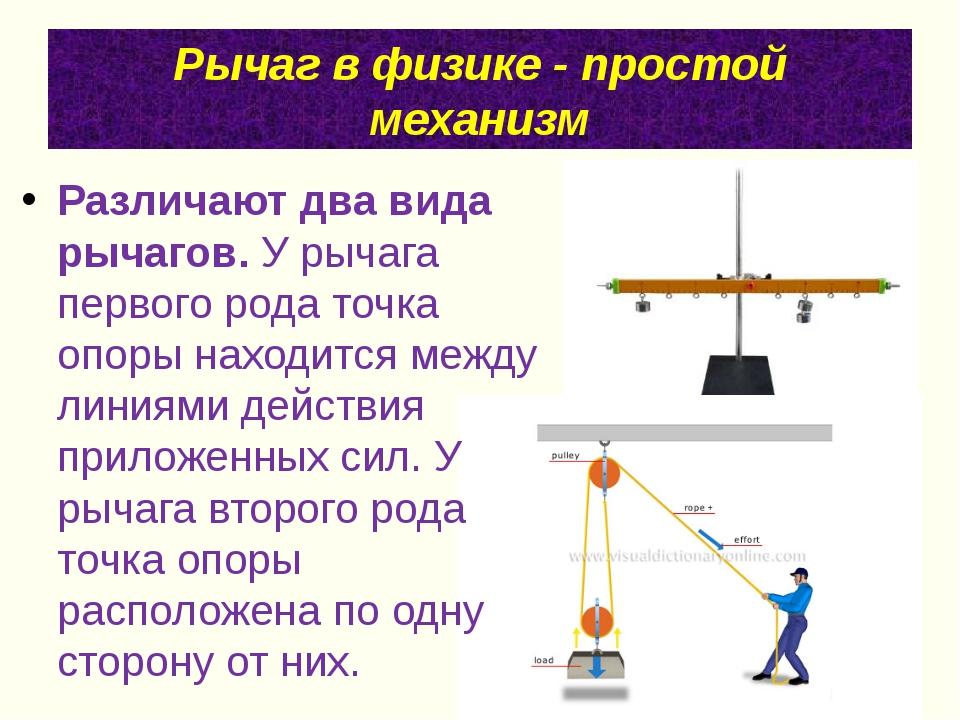 Рычаг в физике - простой механизм Различают два вида рычагов.У рычага первог...