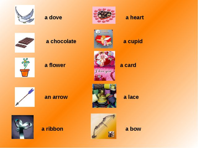 a dove a heart a chocolate a cupid a flower a card an arrow a lace a ribbon...