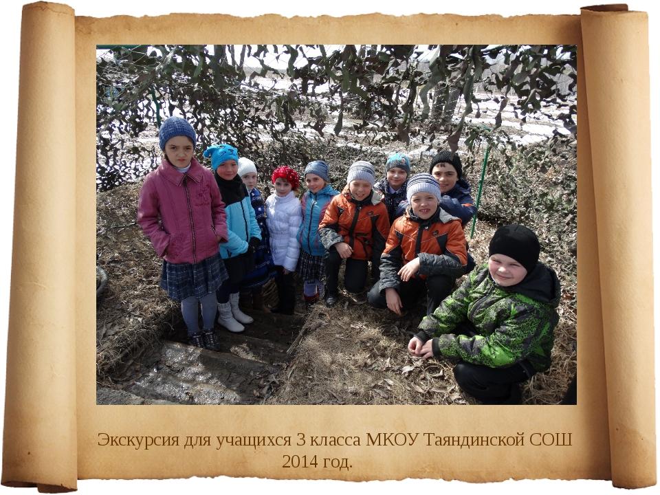 Экскурсия для учащихся 3 класса МКОУ Таяндинской СОШ 2014 год.