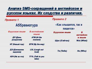 Анализ SMS-сокращений в английском и русском языках. Их сходства и различия.