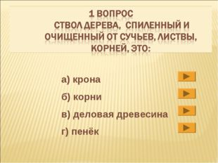 а) крона б) корни в) деловая древесина г) пенёк