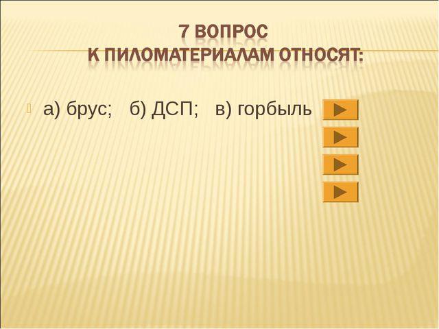 а) брус; б) ДСП; в) горбыль