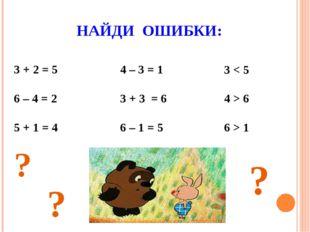 НАЙДИ ОШИБКИ: 3 + 2 = 5 6 – 4 = 2 5 + 1 = 4 4 – 3 = 1 3 + 3 = 6 6 – 1 = 5 3 <