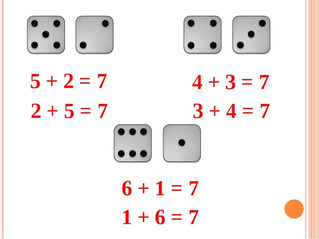 5 + 2 = 7 2 + 5 = 7 4 + 3 = 7 3 + 4 = 7 6 + 1 = 7 1 + 6 = 7
