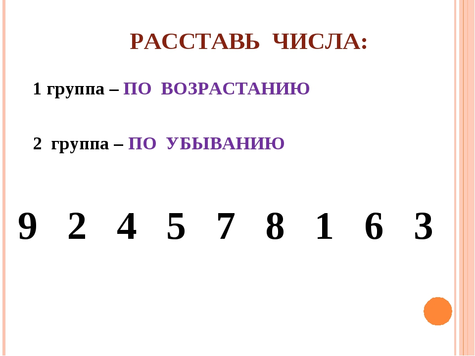 РАССТАВЬ ЧИСЛА: 1 группа – ПО ВОЗРАСТАНИЮ 2 группа – ПО УБЫВАНИЮ 9 2 4 5 7 8...