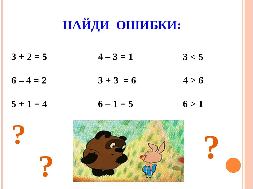 НАЙДИ ОШИБКИ: 3 + 2 = 5 6 – 4 = 2 5 + 1 = 4 4 – 3 = 1 3 + 3 = 6 6 – 1 = 5 3 <...