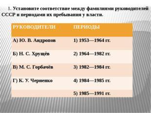 1. Установите соответствие между фамилиями руководителей СССР и периодaми их