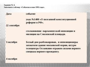 Задание № 4. Заполните таблицу «События осени 1993 года». Дата событие указ №