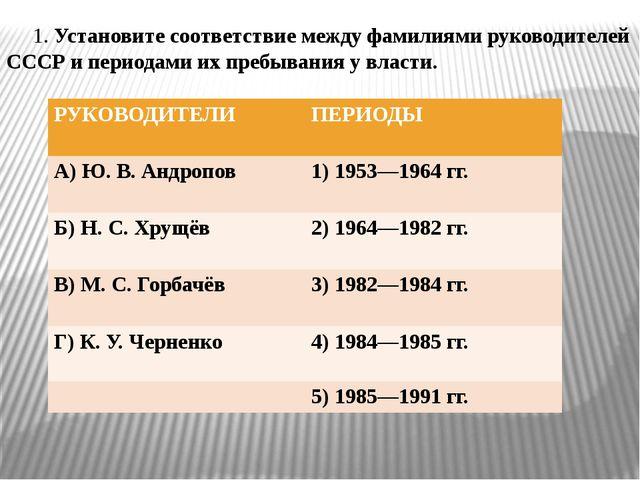 1. Установите соответствие между фамилиями руководителей СССР и периодaми их...