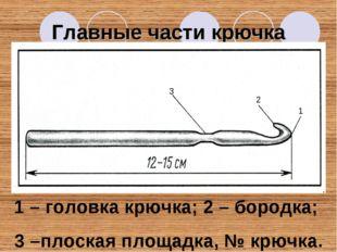 Главные части крючка 3 2 1 1 – головка крючка; 2 – бородка; 3 –плоская площад
