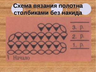 Схема вязания полотна столбиками без накида