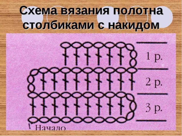 Схема вязания полотна столбиками с накидом