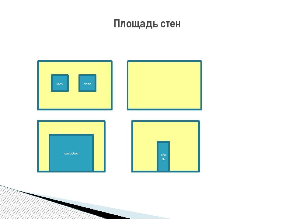 Из общей площади стен необходимо вычесть площадь фотообоев, 2 окон и двери: 2...
