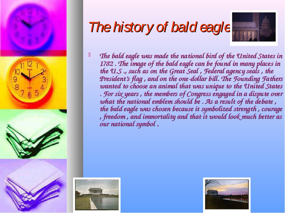 The history of bald eagle The bald eagle was made the national bird of the U...